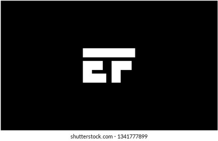 E, F, EF Letter Alphabet Text Font Icon Graphic Logo Design with Creative Modern Trendy style Typography in white color and Black Background - Vector