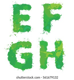 E, F, G, H, Handdrawn english alphabet - letters are made of green watercolor, ink splatter, paint splash font. Isolated on white background.