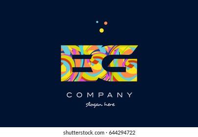 eg e g alphabet letter logo colors colorful rainbow acrylic font creative text dots company vector icon design template