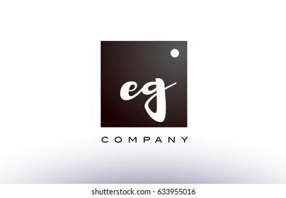 EG E G black white handwritten handwriting alphabet company letter logo square design template dot dots creative abstract