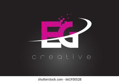 EG E G Creative Letters Design. White Pink Letter Vector Illustration.