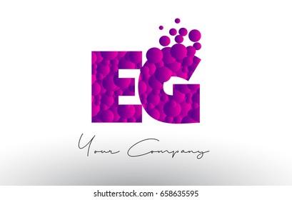 EG E G Dots Letter Logo with Purple Pink Magenta Bubbles Texture Vector.