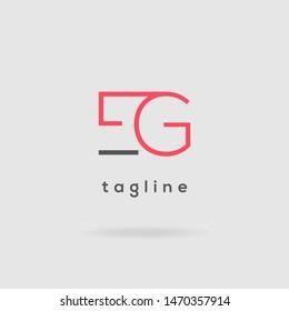 E & G double letter logo design vector template