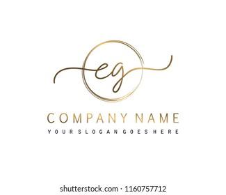 E G Initial handwriting logo vector