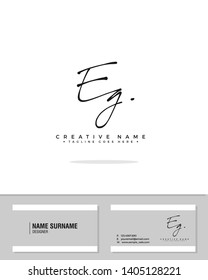 E G EG initial handwriting logo template vector.  signature logo concept