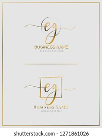 E G EG Initial letter handwriting and  signature logo.