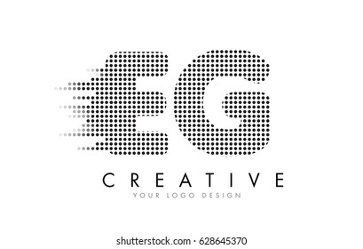 EG E G Letter Logo Design with Black Dots and Bubble Trails.