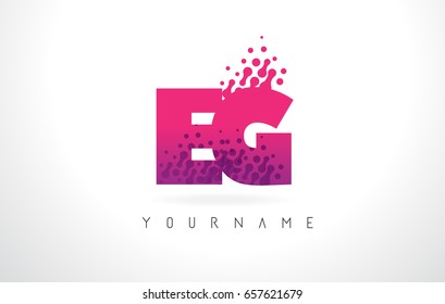 EG E G Letter Logo with Pink Letters and Purple Color Particles Dots Design.
