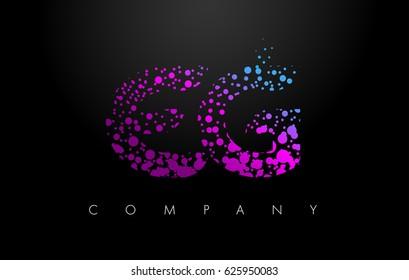 EG E G Letter Logo with Purple Blue Particles and Bubble Dots Design Vector.