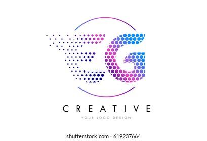 EG E G Pink Magenta Dotted Bubble Letter Logo Design. Dots Lettering Vector Illustration