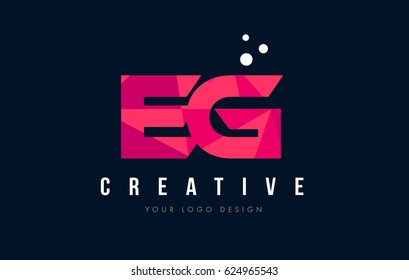 EG E G Purple Letter Logo Design with Low Poly Pink Triangles Concept