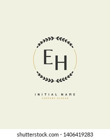 E H EH Beauty vector initial logo, handwriting logo of wedding, fashion, jewerly, heraldic, boutique, floral and botanical with creative template for any company or business.