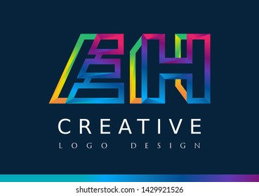 E H Logo. EH Letter Design Vector with Magenta blue and green yellow color.