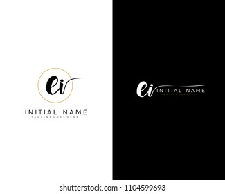 E I Initial handwriting logo vector. Hand lettering for designs.