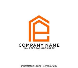 E Initial logo template vector