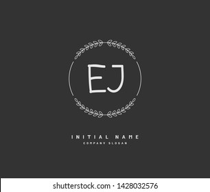 E J EJ Beauty vector initial logo, handwriting logo of initial signature, wedding, fashion, jewerly, boutique, floral and botanical with creative template for any company or business.