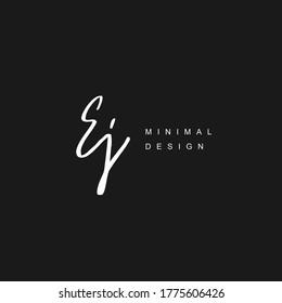 E J EJ Initial handwriting or handwritten logo for identity. Logo with hand drawn style.