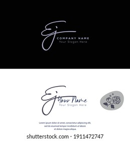 E J EJ Initial letter handwriting and signature logo. Beauty vector initial logo .Fashion, boutique, floral and botanical