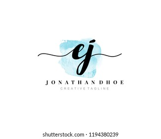 E J EJ Initial watercolor logo on white background. Logo template vector