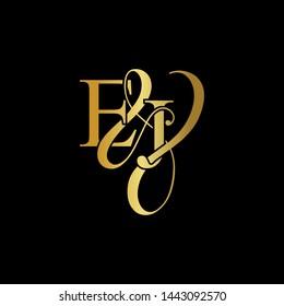 E & J / EJ logo initial vector mark. Initial letter E & J EJ luxury art vector mark logo, gold color on black background.