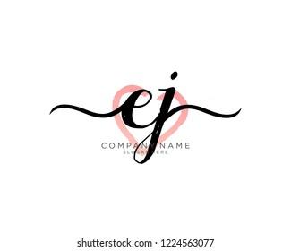 E J Initial handwriting logo vector
