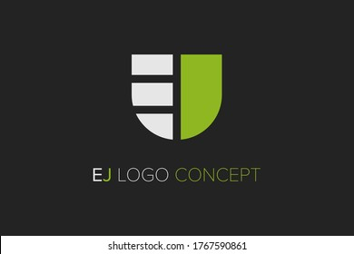 E and J logo design with the concept of a shield. The logo is very suitable for technology companies