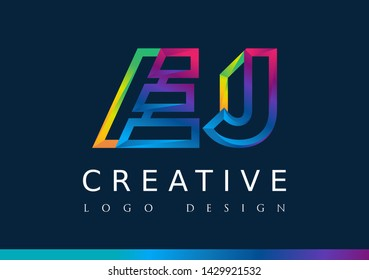 E J Logo. EJ Letter Design Vector with Magenta blue and green yellow color.