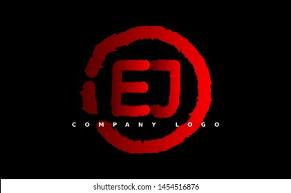 E J Logo. EJ Letter Design Vector with red color. grunge style
