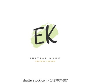 E K EK Beauty vector initial logo, handwriting logo of initial signature, wedding, fashion, jewerly, boutique, floral and botanical with creative template for any company or business.