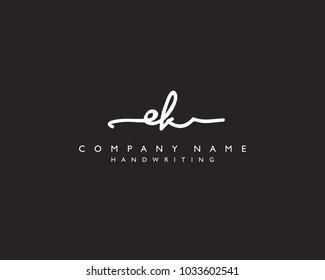 E K Initial handwriting logo