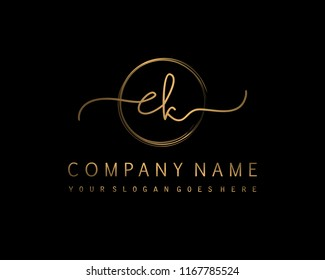 E K Initial handwriting logo vector