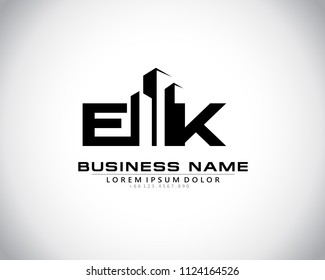 E K Initial logo concept with building template vector.