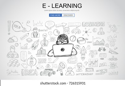 E Learning concept with Business Doodle design style: online formation, AI webinars, neural nets. Modern style illustration for web banners, brochure and flyers.