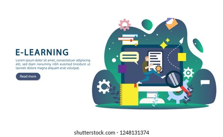 E learning concept with computer, book and tiny people character in study process. E-book or online education. template for web landing page, banner, presentation, social media and print material