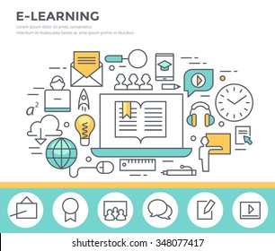 E- learning concept illustration, flat design, thin line style