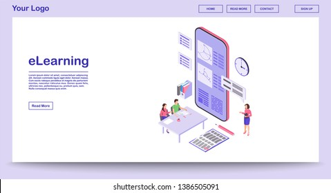 E learning webpage vector template with isometric illustration. Remote education. Online school. Educational smartphone app, studying math, geometry. Website interface layout. Webpage 3d concept