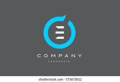 E letter alphabet blue circle flat modern creative vector logo icon sign design template
