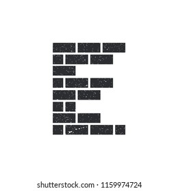 E Letter with brick wall logo icon vector