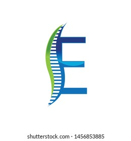 E letter chiropractic abstract vector logo design template. chiropractic Medicine and Healthcare design