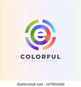 E letter colorful logo archer target style isolated in the circle shape. Vector design template elements for your Brand or company identity.