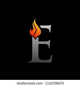 E Letter fire Logo