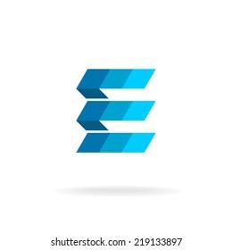 E letter flat colors logo template