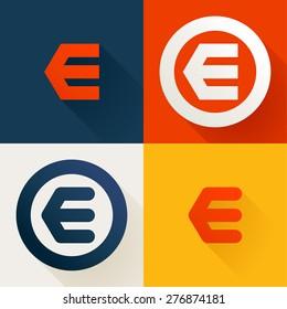 E letter line logo set, design template elements