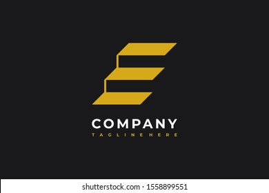 E Letter Line Stripe Stairs Icon Elevate Symbol Vector Logo Concept Design Template isolated on Black Background. Vector Illustration
