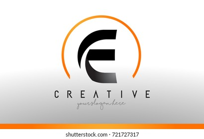 E Letter Logo Design with Black Orange Color. Cool Modern Icon Letters Logo Vector.