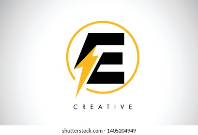 E Letter Logo Design With Lighting Thunder Bolt. Electric Bolt Letter Logo Vector Illustration.