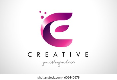 E Letter Logo Design Template with Purple Colors and Dots