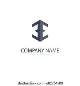 E Letter Logo. EE Letter Logo