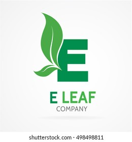 E letter logo with green leaves.Vector design template elements for your eco application or corporate identity.