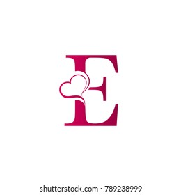 E letter logo with heart icon, valentines day concept